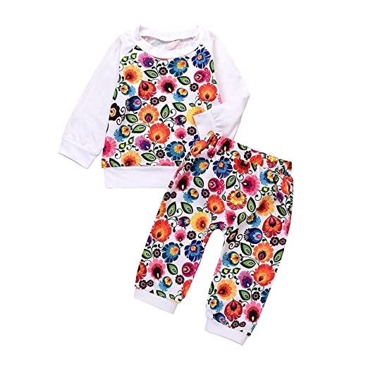 333ca9c9f0ef Amazon.com  Bokeley Newborn Clothes Toddler Outfit Baby Girls Floral ...