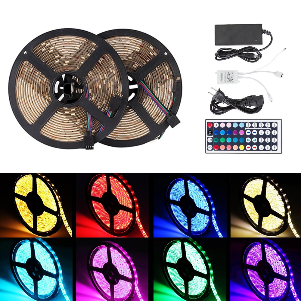 Xtf2015 Led Light Strip Kit 10 M/32.8ft Smd 5050 300leds Rgb Strip Lights, Waterproof Led Tape Lights With 44key Remote Controller And 6 A Power Supply For Home Kitchen Bedroom And Cabinet by Xtf2015
