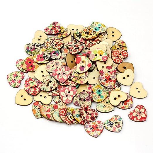 74 opinioni per AllBeauty- 100 bottoni in legno, a forma di cuore, con stampa floreale, adatti
