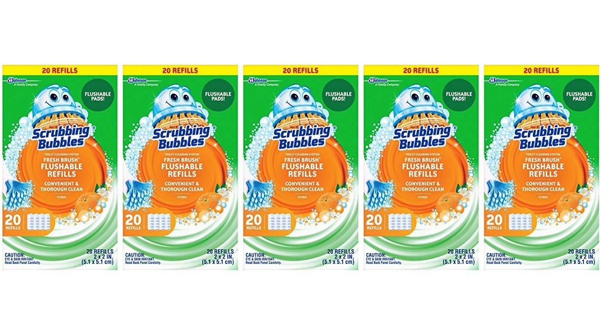 Scrubbing Bubbles Toilet Fresh Brush Flushable Refills, Citrus Scent, 20 Count (5 Pack)