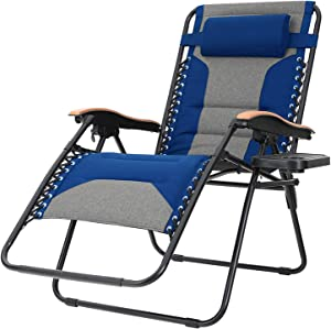Sophia & William Padded Zero Gravity Chair Oversize Lounge Chair with Free Cup Holder, Supports 350 LBS (Blue)