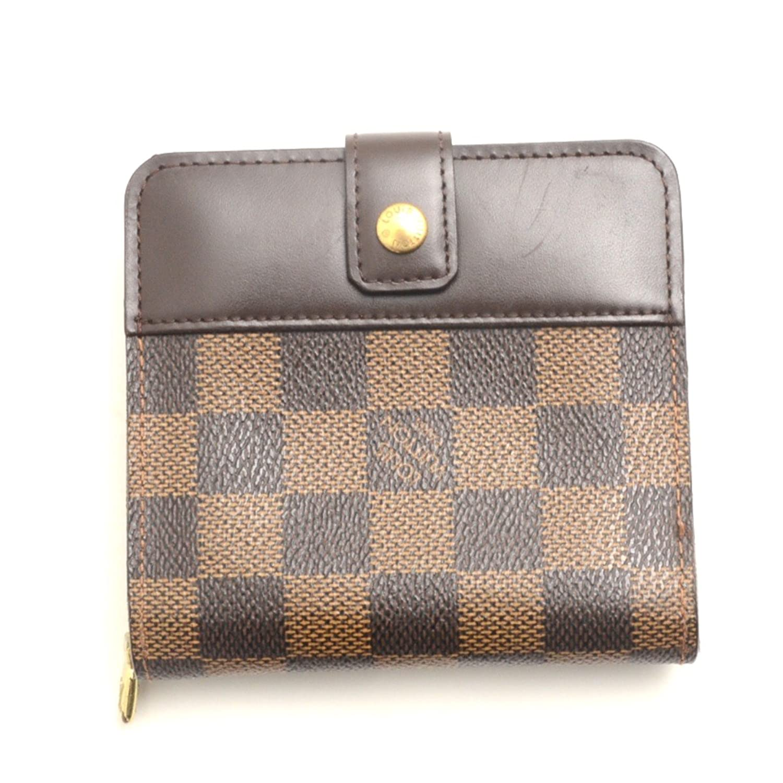 (ルイヴィトン)LOUIS VUITTON 二つ折り財布(小銭入れあり)コンパクトジップ ダミエキャンバス ブラウン 中古 B074MYH9LJ