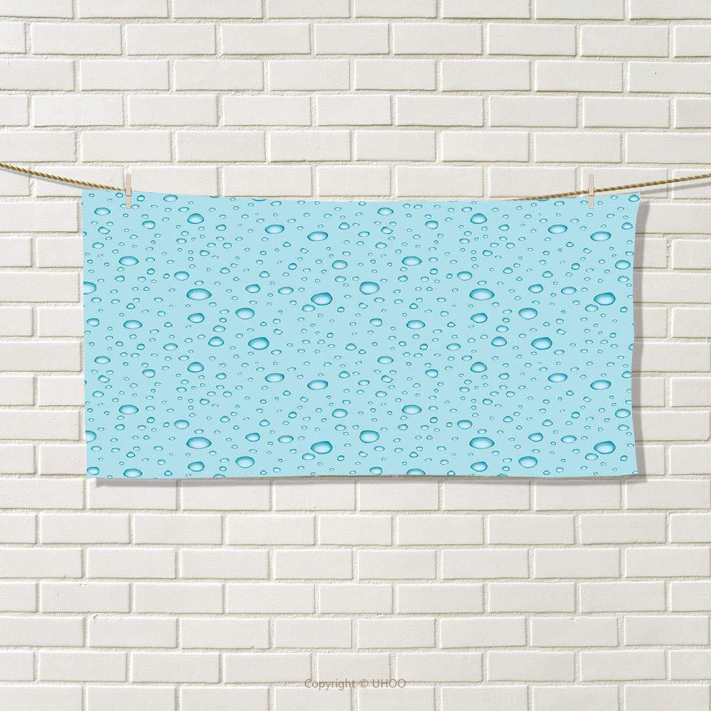 Aqua Travel Towel Big Small Water Rain Drops Liquidity Oceanic Pelagic Naval Seafaring Maritime Image Quick-Dry Towels Pale Blue Size: W 14'' x L 27.23''