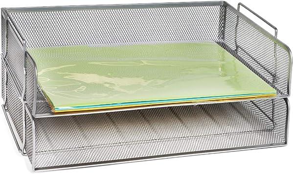 Plastic Filing Letter Trays Stacking Office Desk Paper Document Organiser 2 Tier