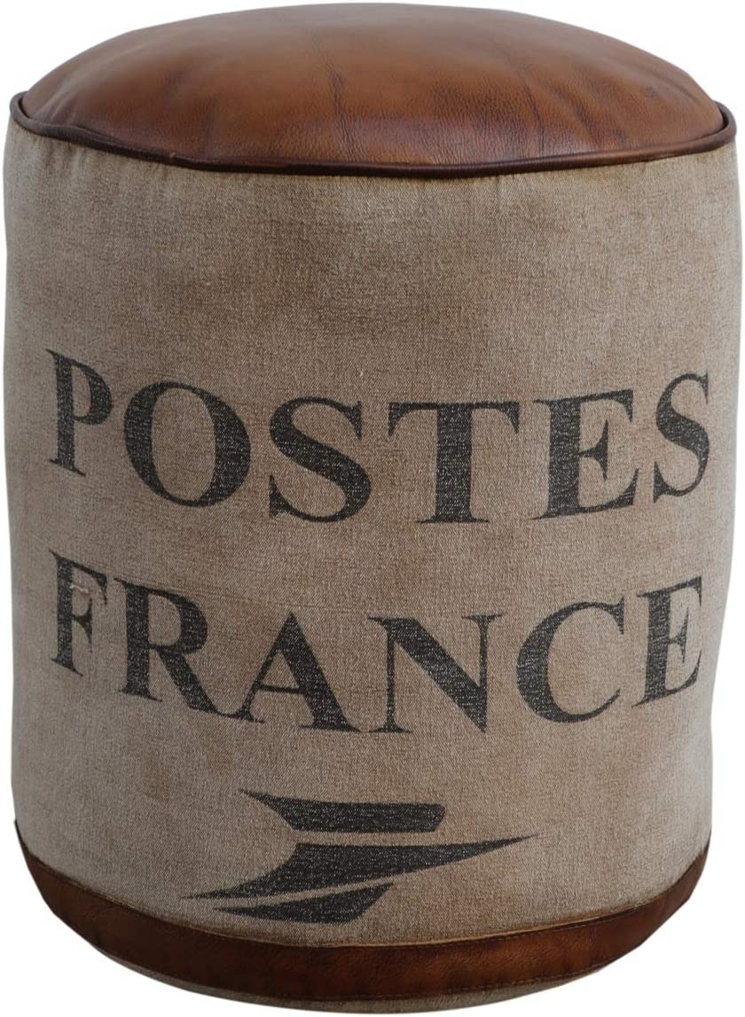 Foreign Affairs Home Décor Round Canvas Pouf France Topped with Brown Leather Seat