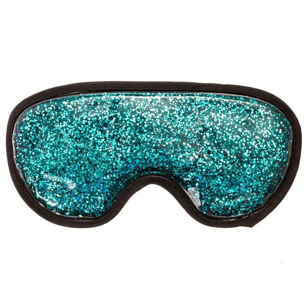 Eye Compress, Medical Eye Mask, Hot & Cold Therapy for Puffy Eyes, Tension, Sinus and Migraine Relief, Adjustable Strap for Men and Women, Plush Backing, Reusable, Freezer and Microwave Safe (Aquamarine Glitters) IKISDO
