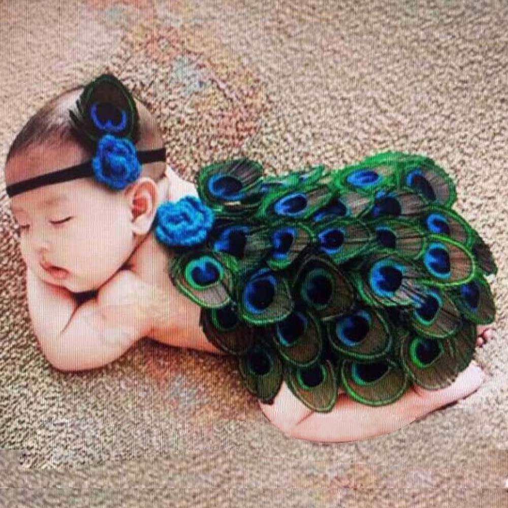 FTXJ Baby Girls Peacock Costume Photography Prop Outfits With Headband Newborn Photo Wraps