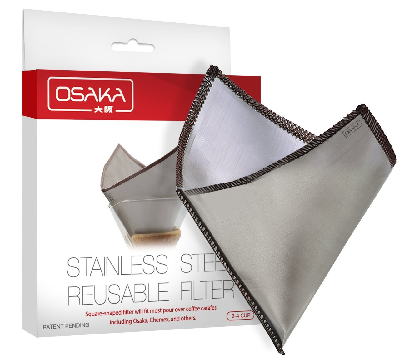 Osaka Square-Shaped Stainless Steel Mesh Reusable Filter for Pour Over Coffee – Fits Multiple Carafes such as Osaka, Chemex and Hario