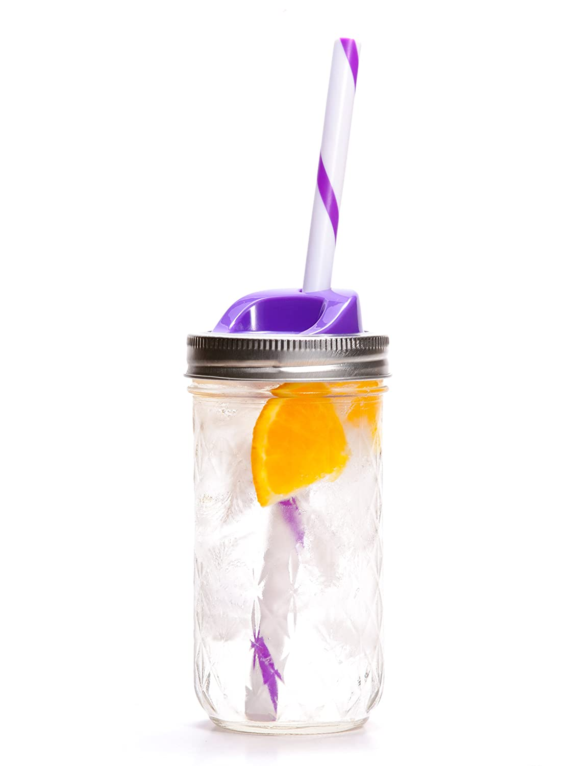 Ball Mason Drinking Jars with Sip Lid and Straw (Purple, 12 Ounce)