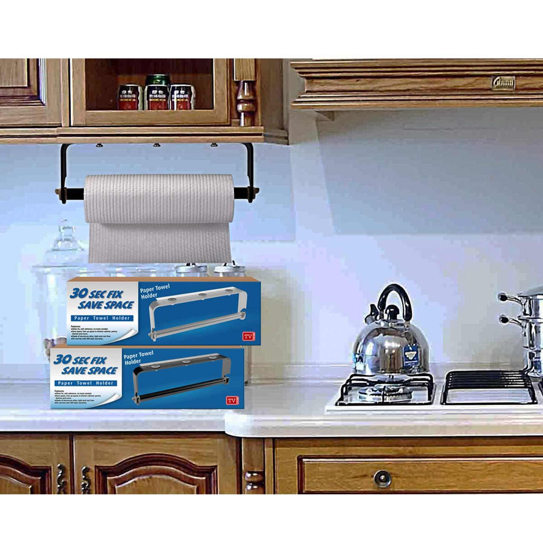 ORLESS Portarrollos de papel de cocina con soporte Adhesivo para Pared o Debajo del Armario, Sin Necesidad de taladrar Adecuado para Cocina y Baño ...