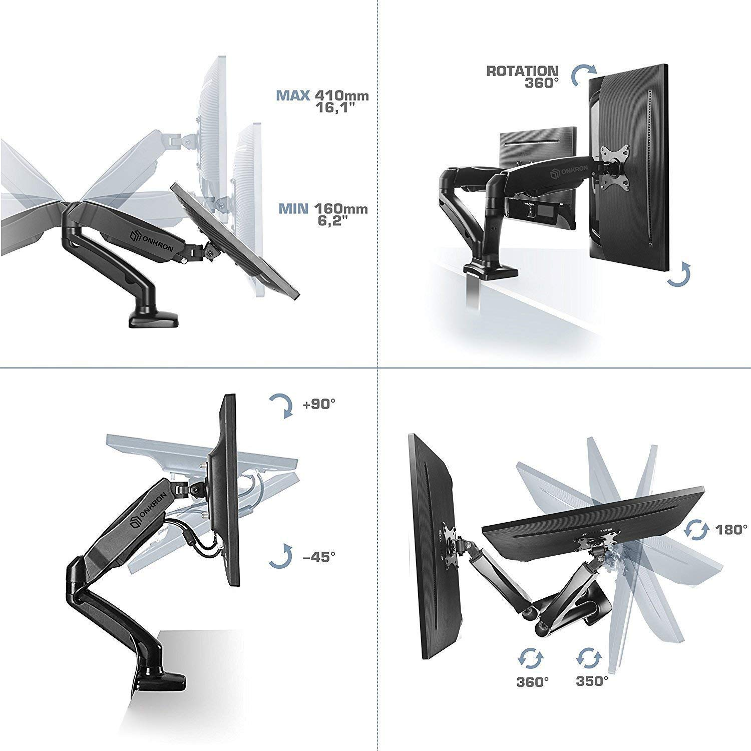 ONKRON Dual Monitor Desk Mount for 13 to 27-Inch LCD LED Computer TV Screens up to 14.3 lbs G160 by ONKRON (Image #4)