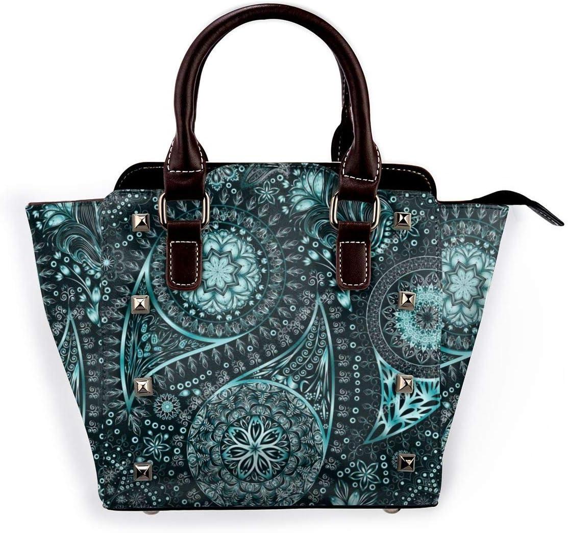 GHUJAOOHIJIO Green Paisley Womens Rivet PU Leather Tote Bag Shoulder Bag Purse