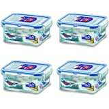 Lock & Lock Rectangular Water Tight Food Container, Set of 4 (6 oz each)