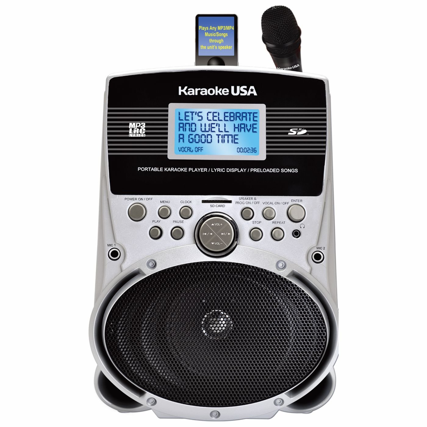Karaoke USA SD516 Portable MP3 Lyric Player with 3.2 Screen, SD Slot & 100 Songs