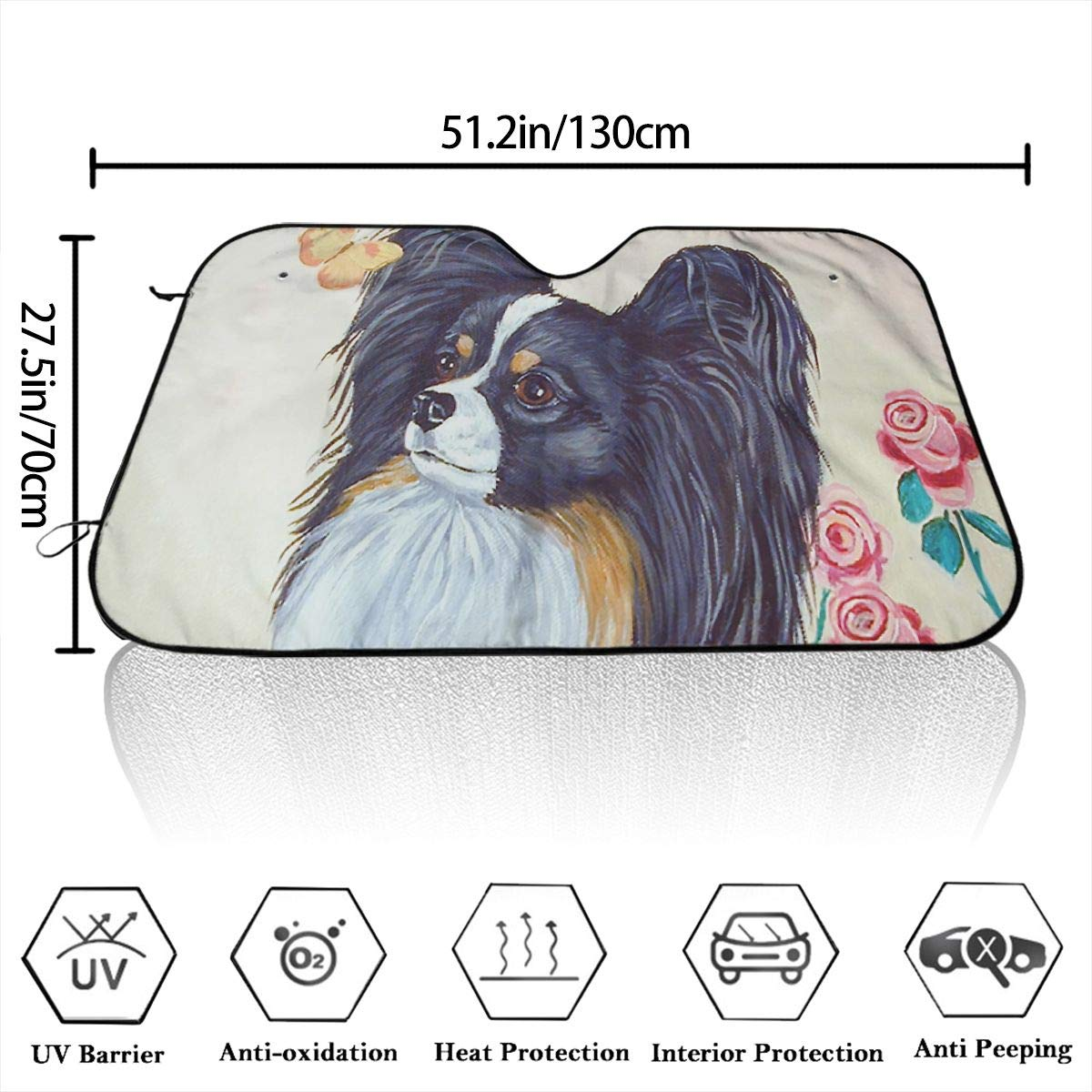 Papillon Dog Butterfly Gold Rose Themed Windshield Sun Shade Car Windows Interior Cover Visor Kit Ornament Decor Outdoor Vehicle Accessories Sunshade Auto for Women Men