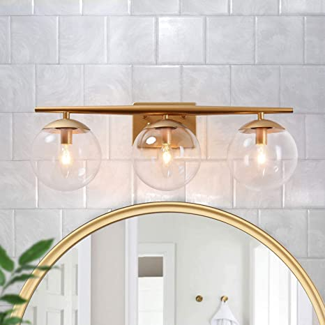 Gepow Gold Bathroom Light Fixtures Modern Vanity Light With Clear Glass Shades 22 X 7 5 X 8 5 Amazon Com