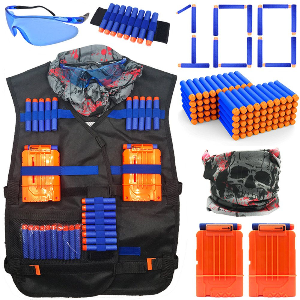 23Toyz Tactical Vest Kit for Nerf Guns N-strike Elite Series, 100pcs Refill Darts, 2pcs Quick Reload Clips, Wrist Bands, Face Mask and Protective Glasses