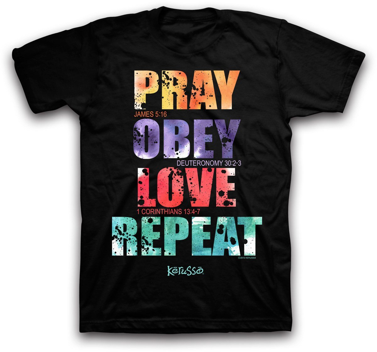 Kerusso Pray Obey Love Repeat, Tee, MD, Black - Christian Fashion Gifts