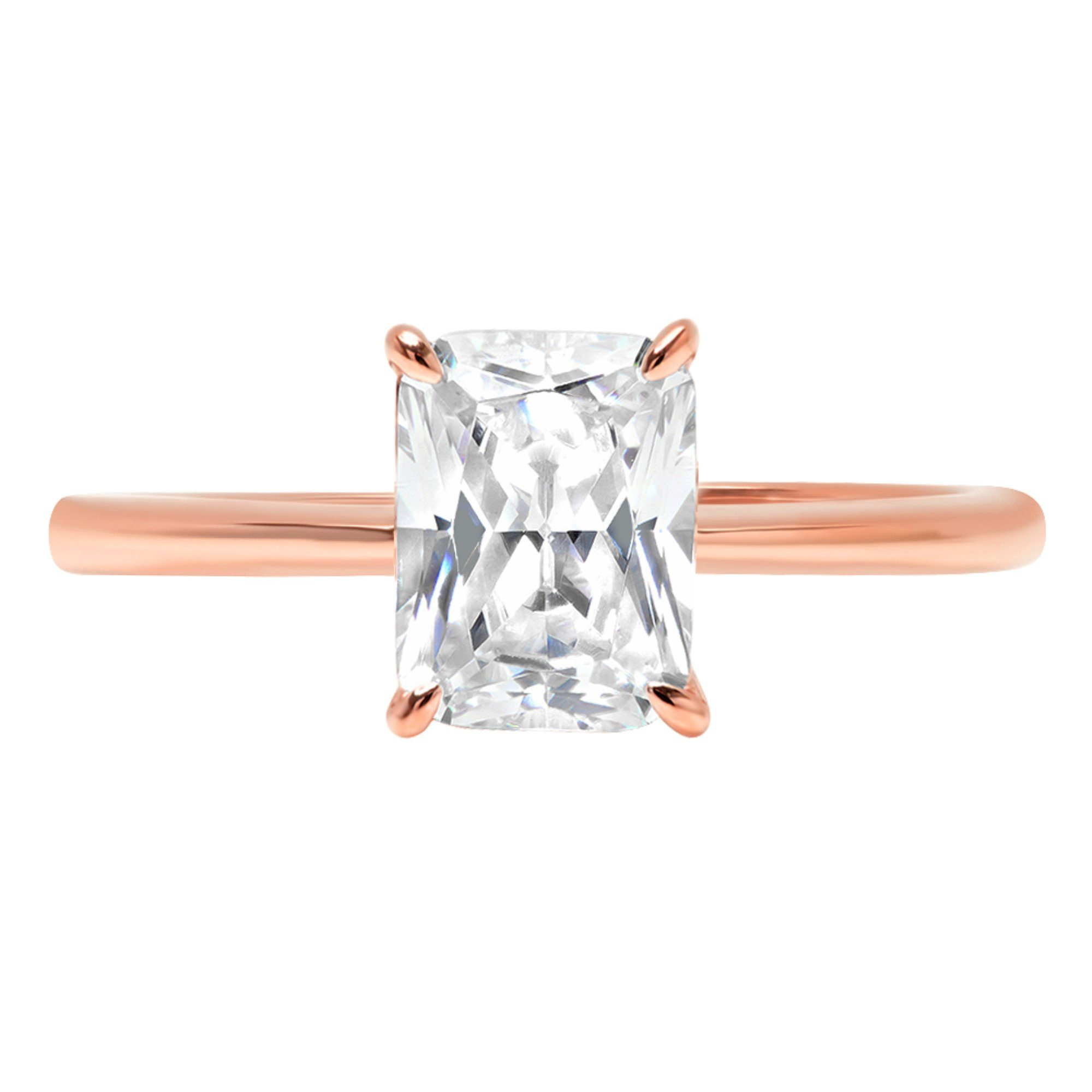 14k Rose Gold 1.55ct Radiant Brilliant Cut Classic Solitaire Designer Wedding Bridal Statement Anniversary Engagement Promise Ring Solid, 8.25