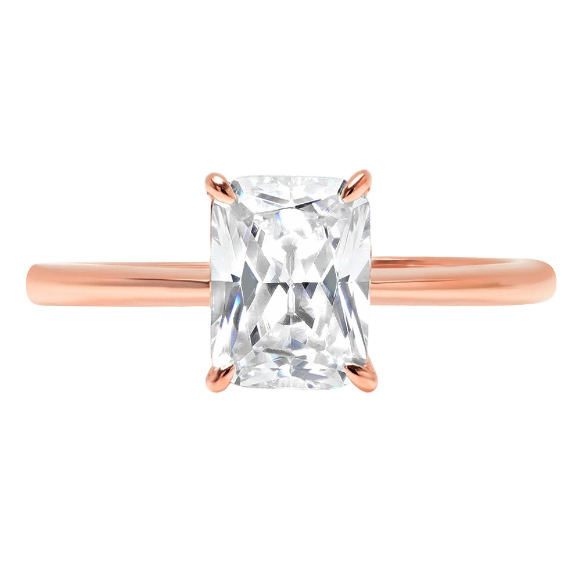 14k Rose Gold 0.8ct RadiantBrilliant Cut Classic Solitaire Designer Wedding Bridal Statement Anniversary Engagement Promise Ring Solid, 7.25