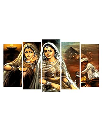 999Store Multiple Framed Printed Classical Rajasthani Canvas Painting