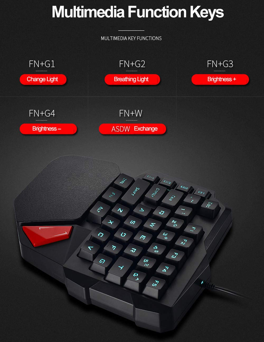Hisoul One-Handed Gaming Keyboard, K108 Wired 38 Keys LED Backlit USB Ergonomic Gaming Keyboard for PUBG CNF and LOL Gamer (Black) by Hisoul (Image #9)