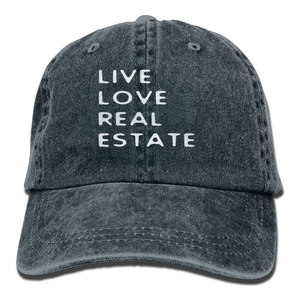 Gongzhiqing Live Love Real Estate Adult Adjustable Printing Cowboy Baseball Hat Navy