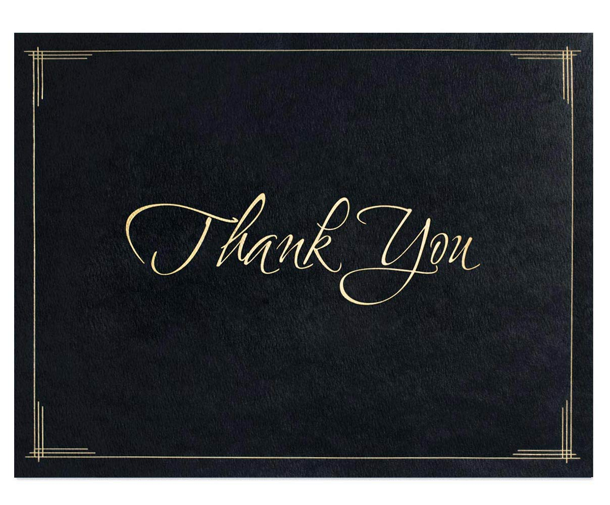 Thank You Certificate Jackets, 9 Inches x 12 Inches Folded, Black with Gold Foil, 50 Count by PaperDirect