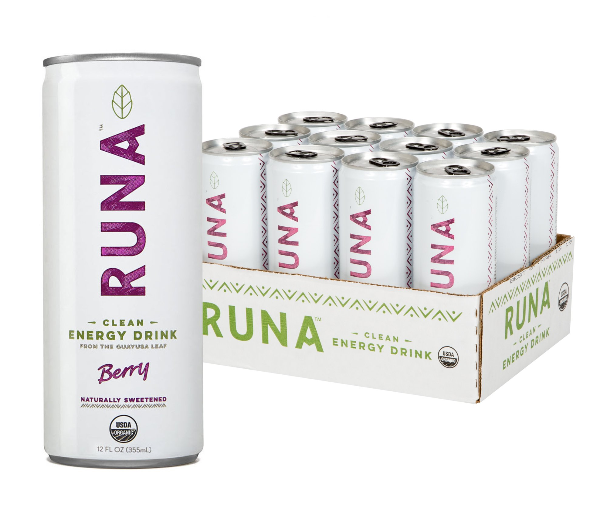 RUNA Organic Clean Energy Drink from the Guayusa Leaf, Berry, 12 Fluid Ounce (Pack of 12)