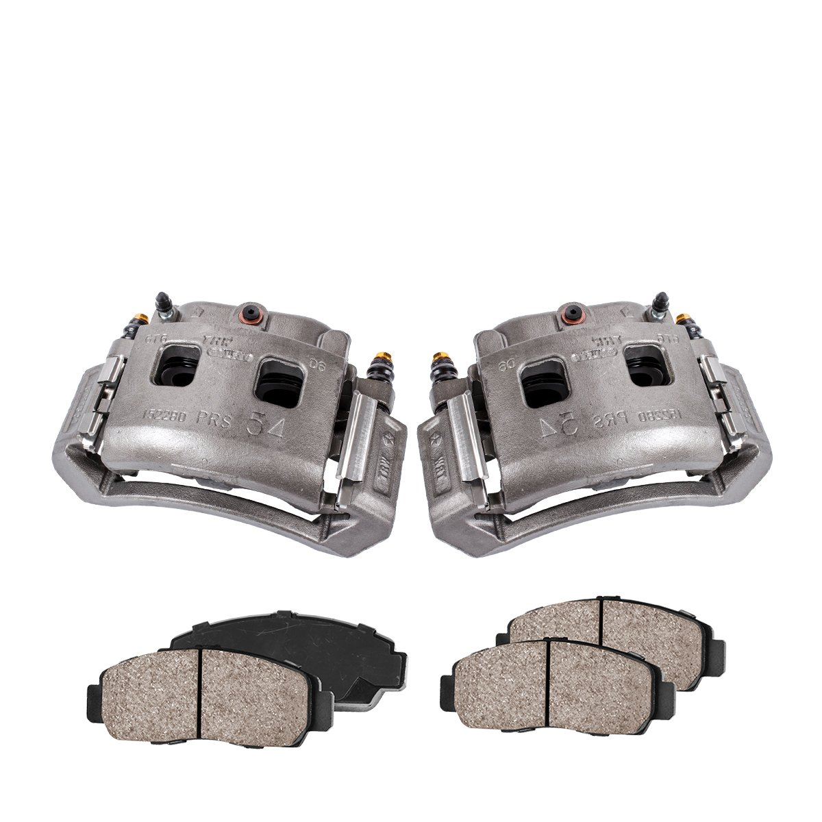 Quiet Low Dust Ceramic Brake Pads COEK00275 FRONT Premium Loaded OE Caliper Assembly Set 2