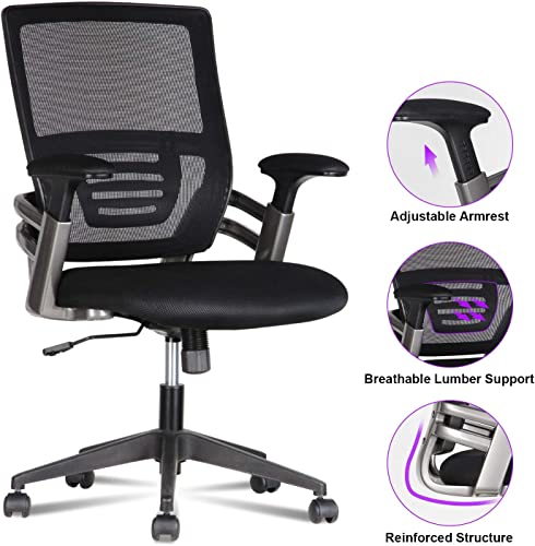 LENTIA Ergonomic Office Chair Mid Back Black Mesh Executive Swivel Chair with Adjustable Padded Armrests, 330 LB Max Weight, Black 24.4 W 25.19 D 37.40-41.14 H