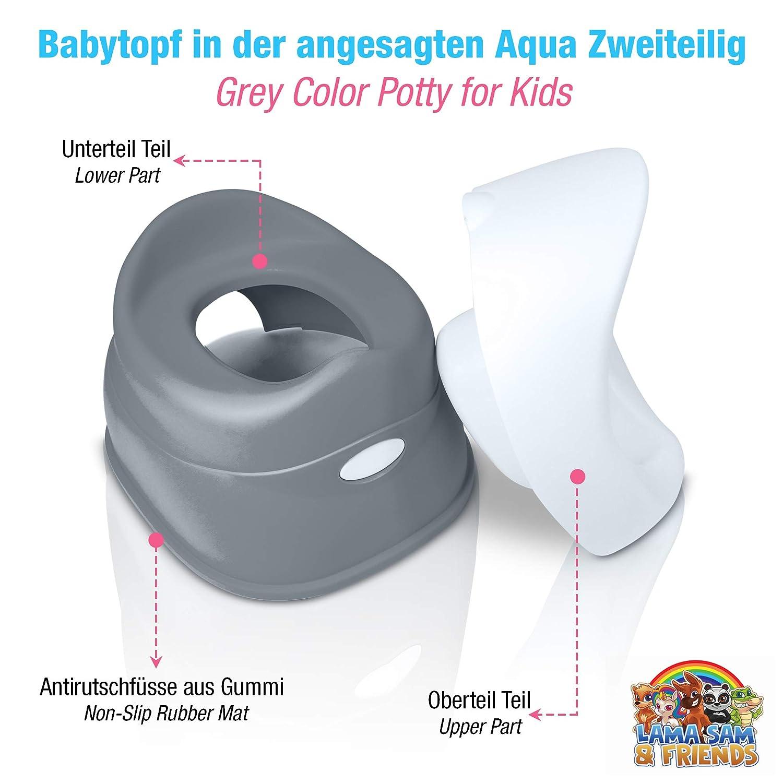 T/öpfchen ab ca 2 Teiliger Babytopf Grau - Modell 2019 3 Jahre Anti-Rutsch-Funktion 18 Monate bis ca