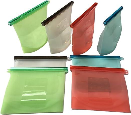 2 x Silicona – Bolsas/comida – Bolsa reutilizable & Resistente al ...