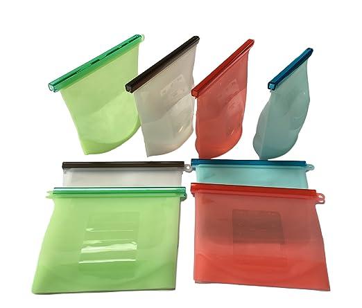 4 bolsas de silicona reutilizables para comida. 100% antigoteo y al vacío. Para sopa, comida, cereales, alimentos cocidos, frutas, verduras, pan, etc. ...