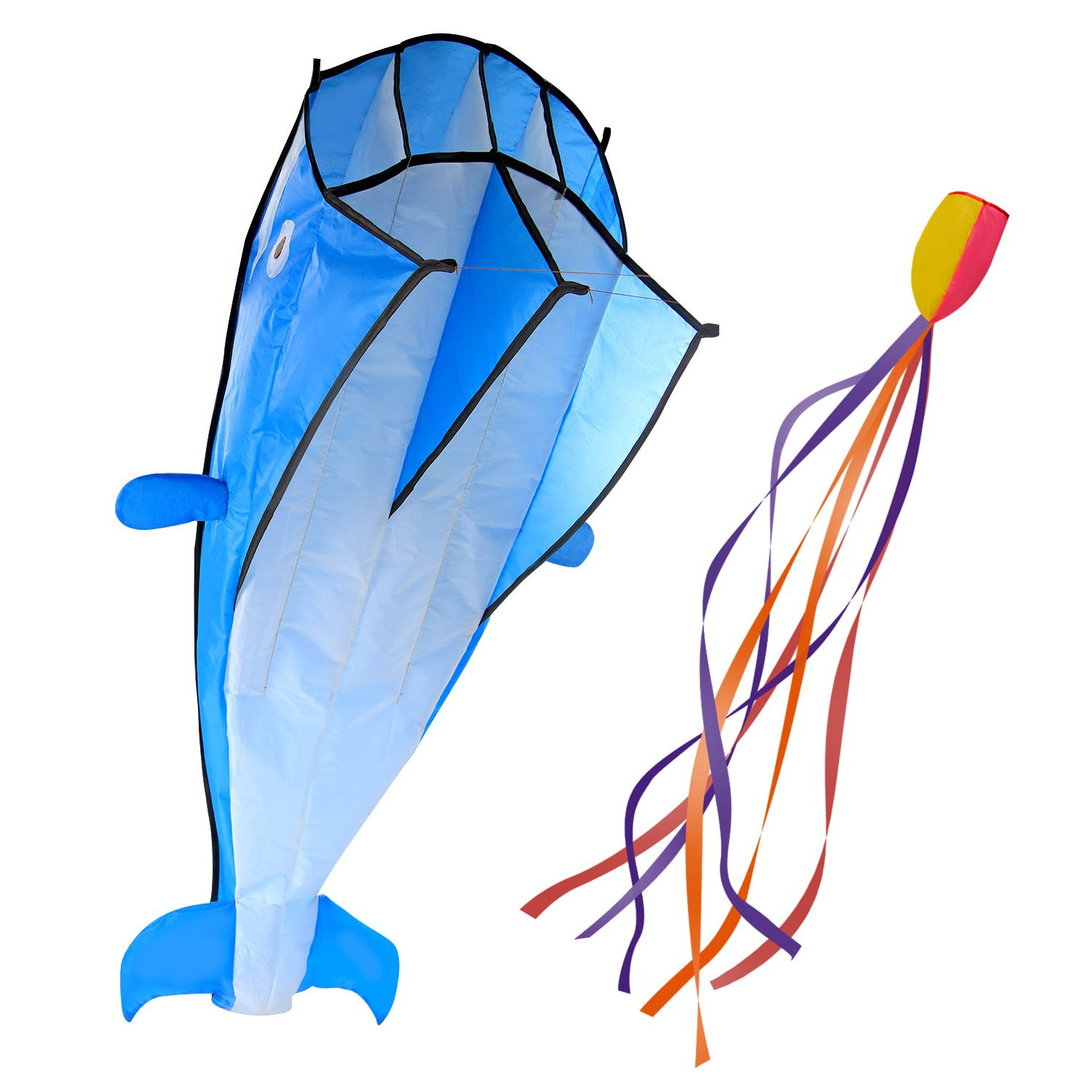 IMAGE 3D Kite Large Blue Dolphin Breeze Beach Kites with Huge Frameless Soft Parafoil Giant,Gift for Kids,Family by IMAGE
