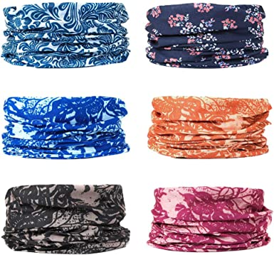 6 PCS Seamless Multifunctional Headwear Bandana Scarf Tube Elastic Headband UV