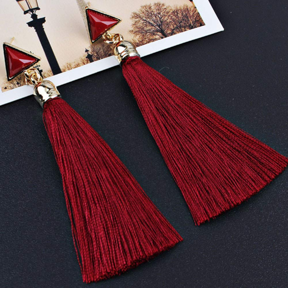 POQOQ Tassel Earrings Bohemian Women Ethnic Hanging Rope