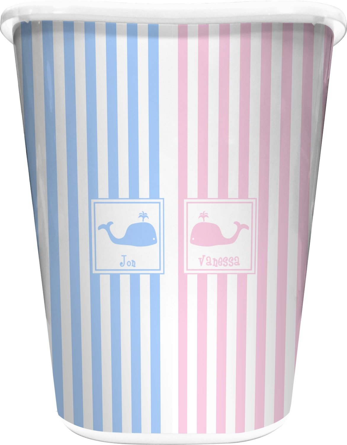 RNK Shops Striped w/Whales Waste Basket - Single Sided (White) (Personalized)