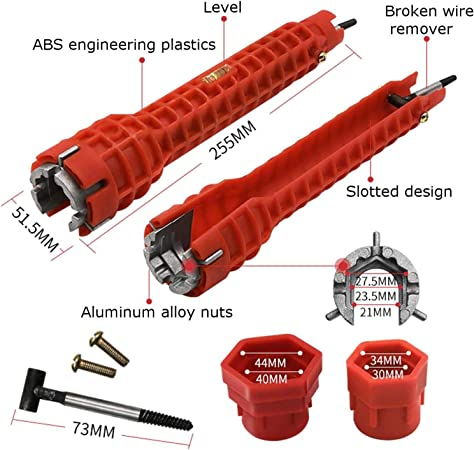 Daytesy Wrench Spanner-Multifunction Water Pipe Spanner Sink Faucet Socket Wrench Plumbing Tools for Home Use Red