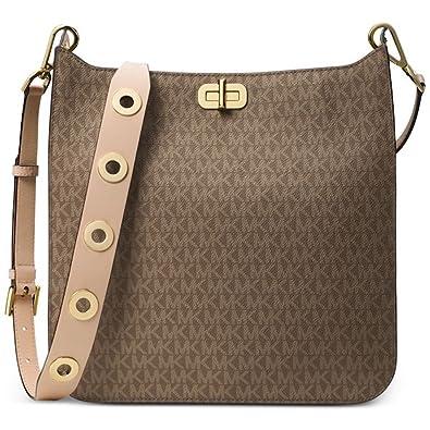 Amazon.com  Michael Kors Sullivan Large North South Messenger Bag Mocha   Shoes e7cdc58a914fb