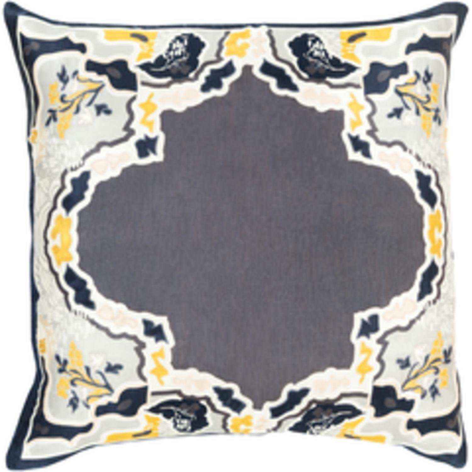 22'' Metalic Gray and Golden Yellow Floral Decorative Throw Pillow - Down Filler