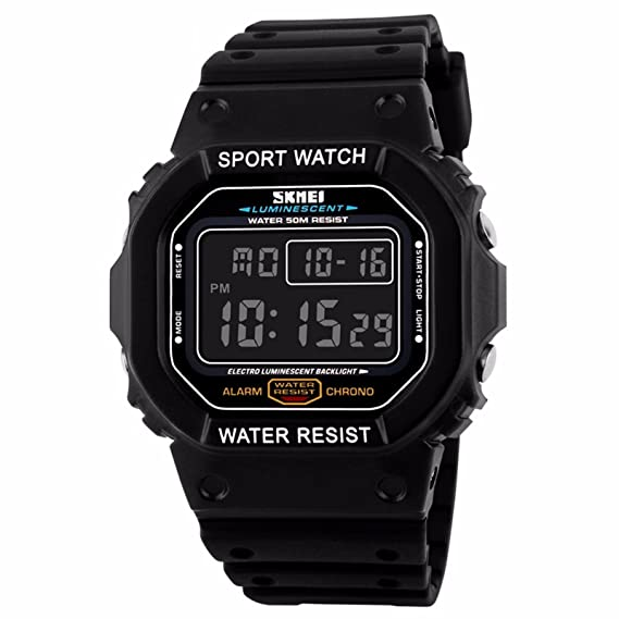 Digital Watch Fashion Casual Sport Waterproof Watch Digital Electronic LED Screen Watch Luminous Plastic Watch