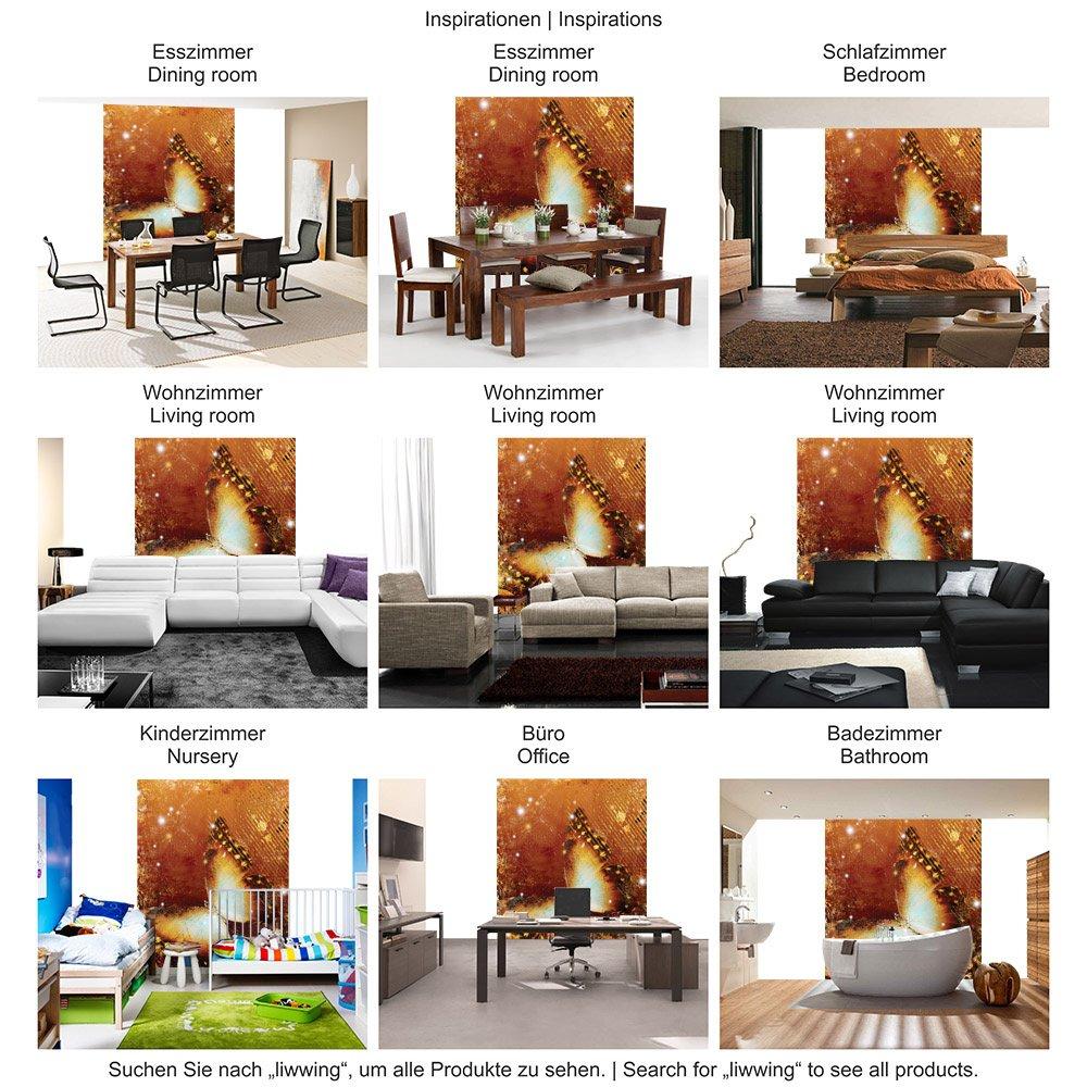Vlies Wand Fototapete 350x245 cm PREMIUM PLUS Wand Vlies Foto Tapete Wand Bild Vliestapete - Kunst Tapete Ornamente Schmetterling orange - no. 460 d81860