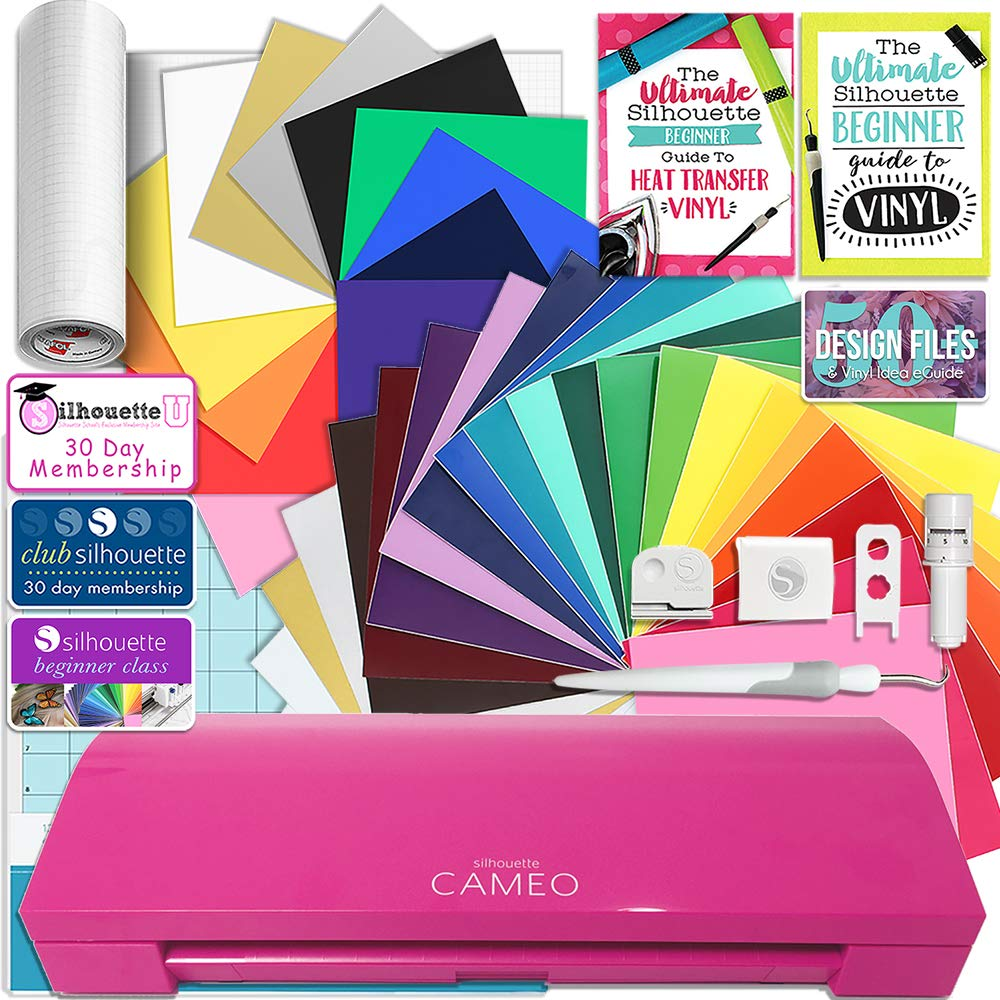 Silhouette Glitter Pink Cameo 3 Creative Bundle with Bluetooth, 24 Oracal 651 Sheets and 12 Siser Easyweed Heat Transfer Sheets
