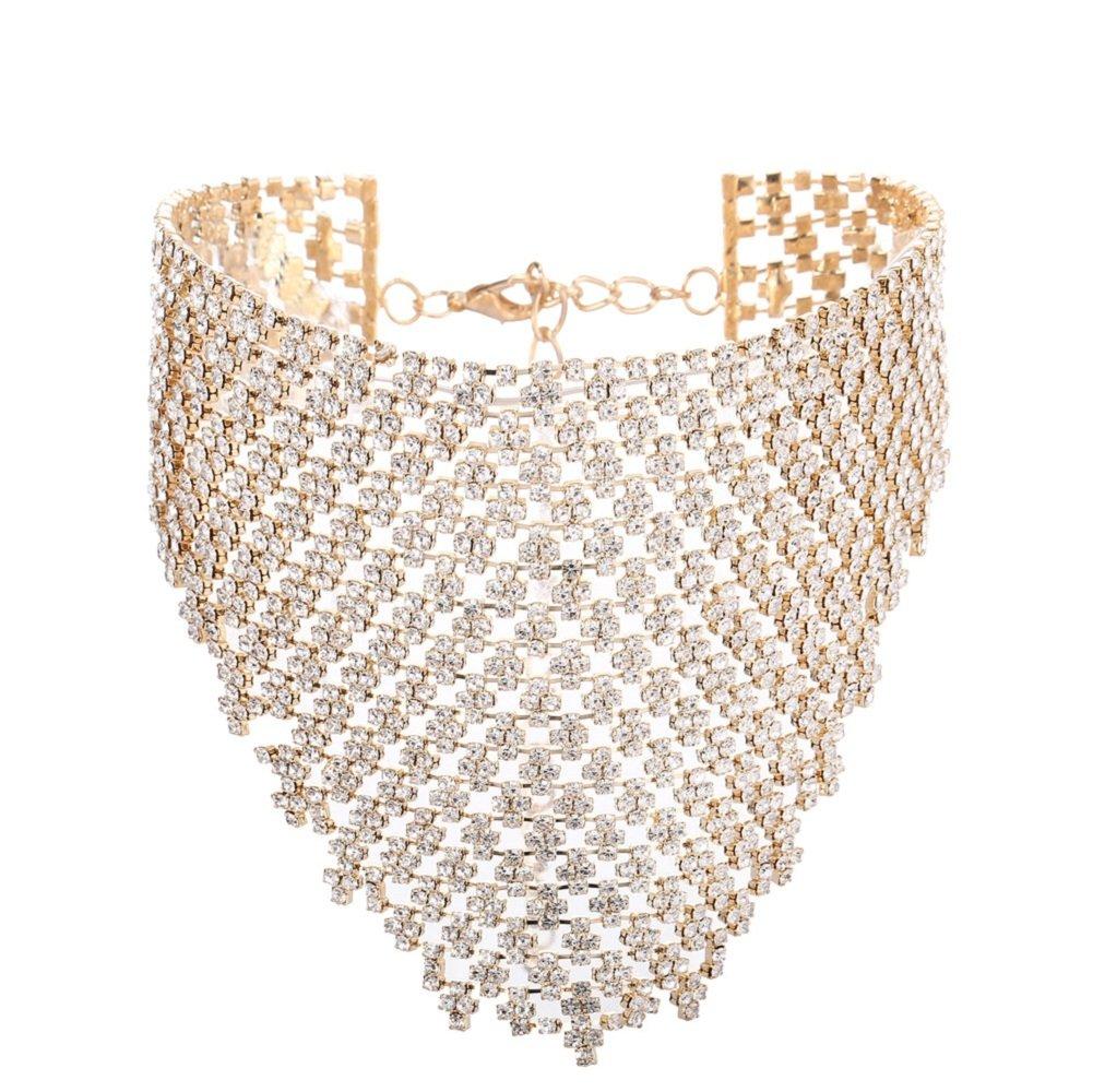 FANCY LOVE Elegant Bohemian Statement Necklace Charms for Women Choker Flower Cluster Diamond (gold)
