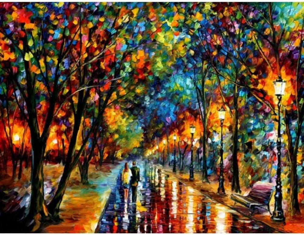Juguetes educativos La pintura colorida Una pareja de amantes caminando bajo la lluvia DIY diamante completo del bordado del paisaje 5D diamantes de imitación imagen Cruz mosaico de la puntada inacaba