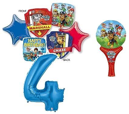 Amazon.com: Paw Patrol 4th cumpleaños ramo de globos con ...