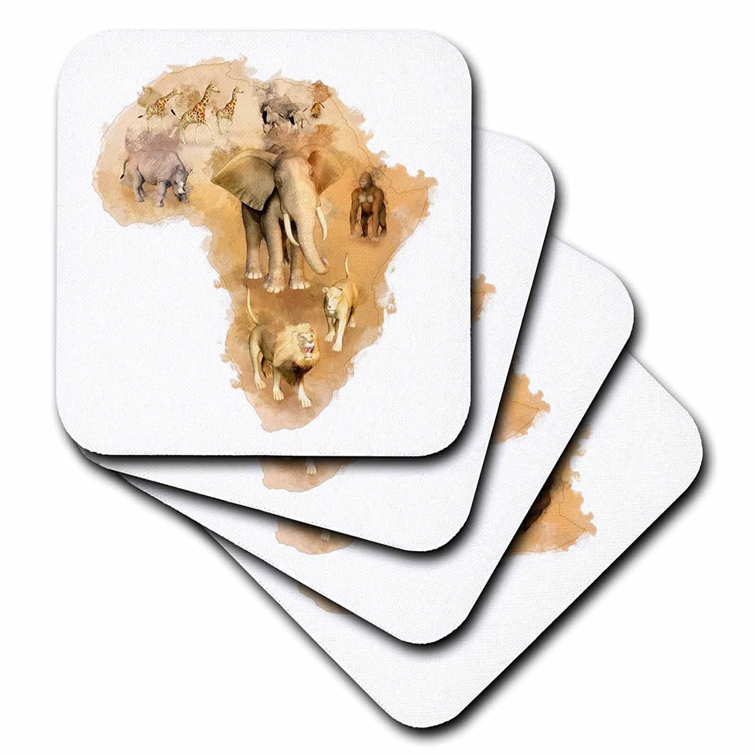 3dRose cst/_38675/_4 Africa Montage with Animals Ceramic Tile Coasters Set of 8