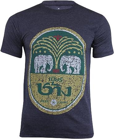 Camiseta de algodón de manga corta con diseño de cerveza Chang, con cuello redondo, hecha en Tailandia, gris oscuro, Large: Amazon.es: Deportes y aire libre