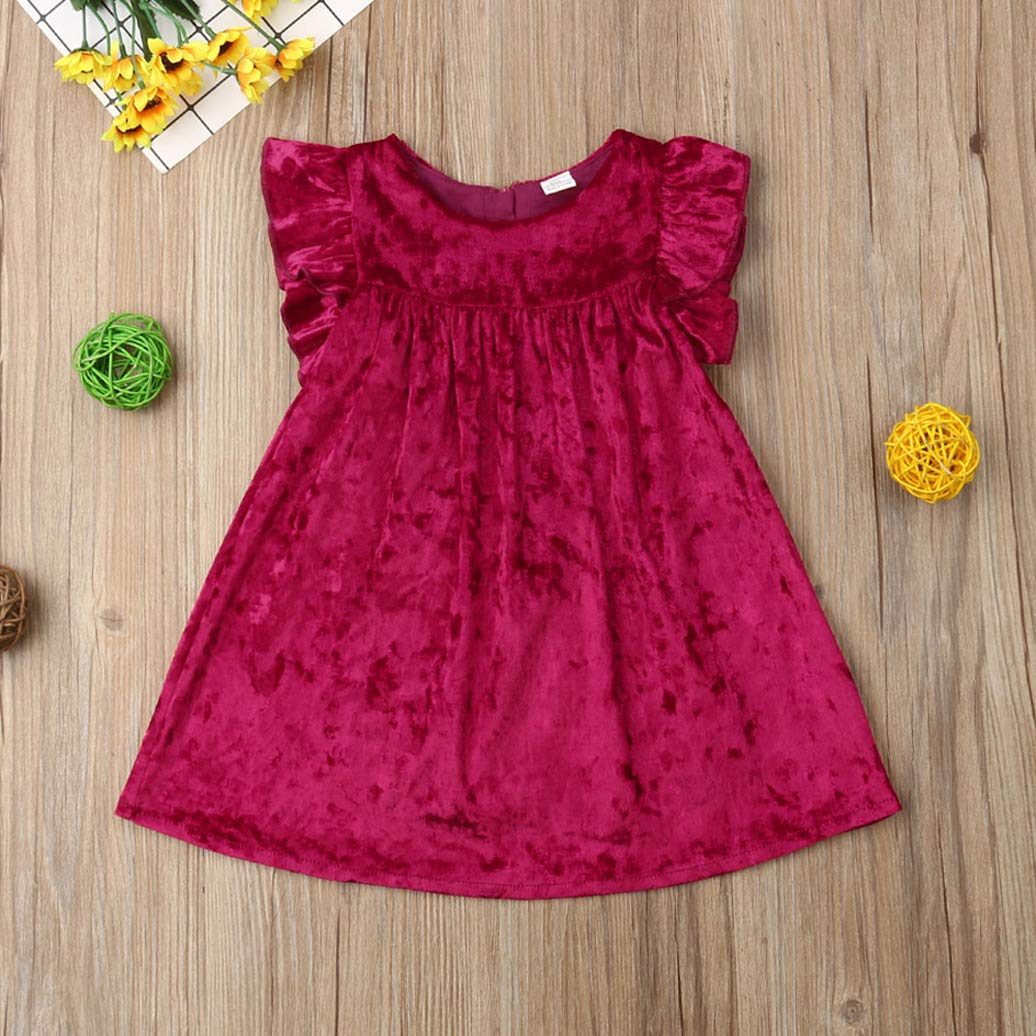 Karuedoo Toddler Baby Girls Velvet Dress Ruffled Sleeveless Princess Party Casual Skirt Dress